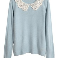 TOKYO FASHION Women's Crochet Lace Collar Pullover Sweater One Size Light Blue