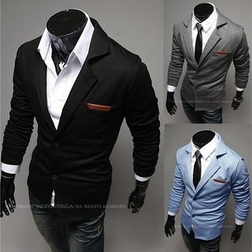 V-Neck Lapel Long Sleeves Men's Cotton Suits [9305827783]