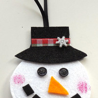 Christmas Gift Card Holder, Black Button Eye Snowman, Christmas Tree Ornament, Felt, Christmas Decor, #2