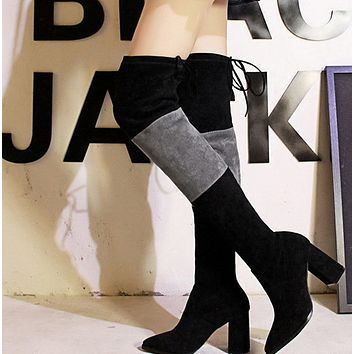 Hot style high heel pointed sexy pedicure over the knee boots shoes