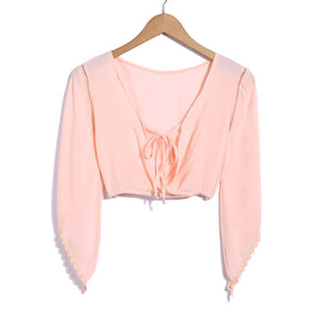 Flared Long Sleeve Crop Top