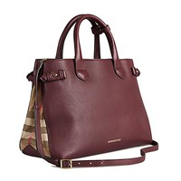 Tote Bag Handbag Authentic Burberry Medium Banner in Leather and House Check MAHOGANY RED Item 39630371