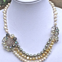 bridal crystals statement  pearl vintage handmade necklace - Free shipping