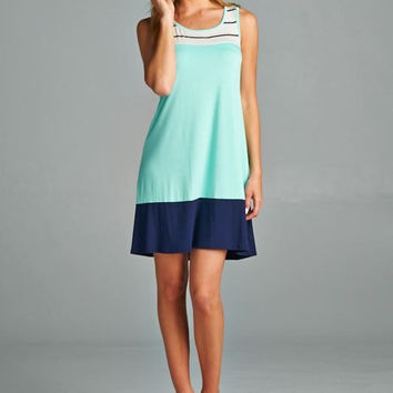 Sail off into the Sunset Dress - Mint and Navy