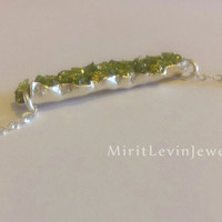 Druzy Green Peridot Necklace, August  Birthstone initial Necklace, Green and silver / gold necklace, Druzy Pendant, Rough crystals