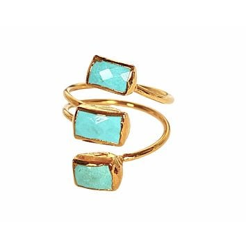Triple turquoise wire wrap ring (size 7.5)