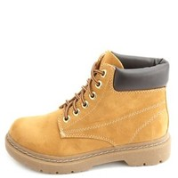 Lace-Up Lug-Soled Work Boots by Charlotte Russe - Camel