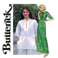 Tunic and Caftan Pattern Bust 34 36 Butterick 5310 Kurtis Tunics A Line Maxi Dress with Embroidery Easy to Sew Womens Vintage Sewing Pattern