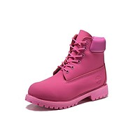 Timberland 10061 Leather Lace-Up Boot Men Women Shoes Pink
