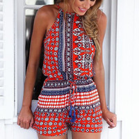 Bohemian Style Playsuit in Red