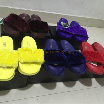 Come With Dust Bag Rihanna Slippers Leadcat Fenty Fur Slides Women Sandals Pink Black White Grey Red Blue Yellow Brown Purple Slippers