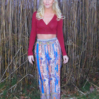 Boho Print Palazzo Pants - Blue and Orange
