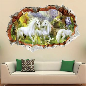 unicorn horse forset wall stickers creative 3d break the wall effect picture setting sticker decorative kids nursery decor decal