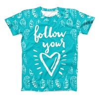 The Follow Your Heart Feathers ink-Fuzed Unisex All Over Full-Printed Fitted Tee Shirt