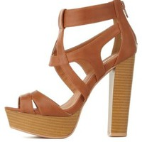 Cognac Caged Platform Chunky Heels by Charlotte Russe