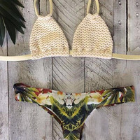 Bandage Print Bikini Set Ladies Swimwear Bathing Suits For Women