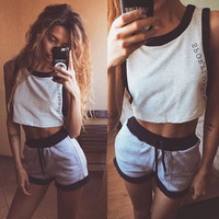 Hot Sale Women's Fashion Alphabet Print Sleeveless Vest Shorts Sportswear Set [4956105668]