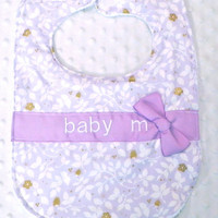 Personalized Bib with Matching Bow - Baby Girl Bib Lavender Purple and Glitz Metallic Gold Flowers