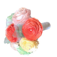 Coral, mint green, blush and Ivory Peony bouquet, Bridesmaid bouquet, Paper Peony Bouquet, Shabby chic Toss bouquet, coral romantic bouquet