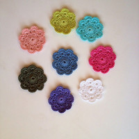 Colorful, Pink, Turquoise, Blue, Green, White, Crochet Mini Coasters Set of 8, kitchen,Crochet Flower, candle holder, candle mat