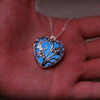 Blue glow in the dark silver heart pendant necklace, key ring, or rear view mirror hanger