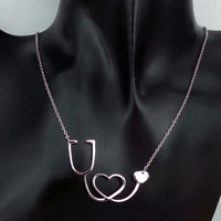Medical Stethoscope Heart Necklace