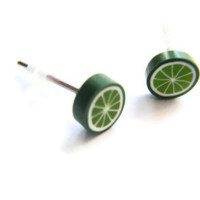 Tiny Little Lime Studs - Polymer Clay Earrings