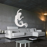 Wall decal decor decals art mermaid girl fish tail sea ocean story design mural bedroom (m1002)