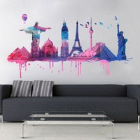 World Travel Watercolor decal for housewares - L size
