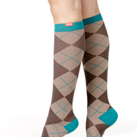 Women's All Over Argyle: Brown & Teal (Cotton)