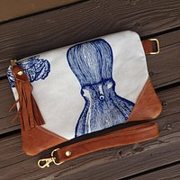 Octopus Print Clutch with Wrist strap