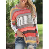 Casual Lace Spliced Long Sleeve Colorful Striped T-Shirt For Women (ORANGE,XL) in Long Sleeves   DressLily.com