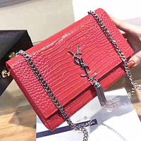 Hipgirls YSL Fashion new leather tassel shopping leisure chain crossbody bag shoulder bag Red