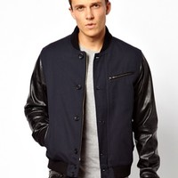 ASOS Bomber Jacket With Leather Look Sleeve - Navy