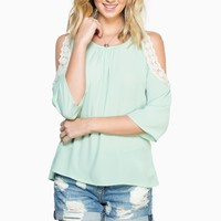ShopSosie Style : Dane Open Shoulder Top in Mint