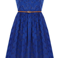 Oasis Sing the Blues   Rich Blue Broderie Bandeau Dress   Womens Fashion Clothing   Oasis Stores UK