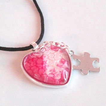Autism necklace, autism jewelry, puzzle piece necklace, autism mom necklace, heart glass wearable art autism awareness necklace. Gifts