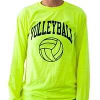 Neon Volleyball Long Sleeve T-shirt (Color/Size=Yellow-Small)