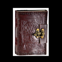 Tree of Life Mini Genuine Leather Pocket-Size Blank Journal with latch
