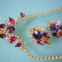 Necklace and Earrings Set, Crystal Necklace, Rhinestone Choker, Purple Jewelry, Vintage Bridal, Mother of the Bride, Great Gatsby