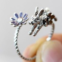 Bunny Ring w Flower Retro Rabbit Ring Adjustable Wrap Floral Ring gift idea hm