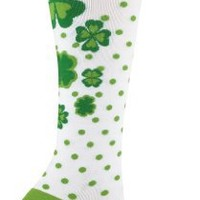 Sock It To Me Clovers Knee High Socks Women Size 5-10US, White/Green