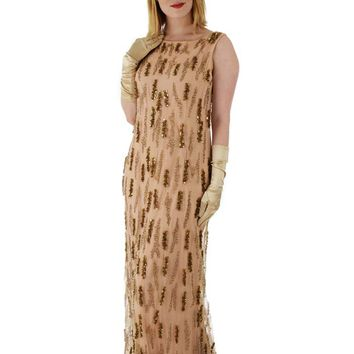 60s Beaded Champagne Blush Tulle Evening Gown-L