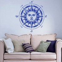 Nautical Compass Rose Sun Ethnical Symbol Wall Vinyl Decal Art Sticker Home Modern Stylish Interior Decor for Any Room Smooth and Flat Surfaces Housewares Murals Window Graphic Bedroom Living Room (3672)