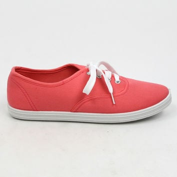 """""""Buddy"""" Canvas Lace Up Walking Sneakers - Coral"""