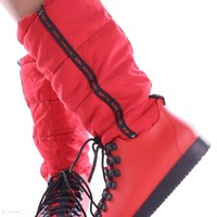 RED WATER RESISTANT LACE UP TALL RUBBER SNOW BOOTS