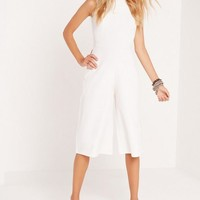 Missguided - High Neck Culotte Jumpsuit White