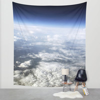 Space tapestry, photo tapestry, large wall art, art wall hanging, planet Earth, oversized art, blue decor, astronomy, wall tapestry