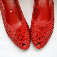 1980s RED LEATHER Peep Toed Heels....size 10 womens..size 42 euro....shoes.cherry red. librarian. open toed. retro. mod. calico. bright red