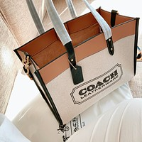 Coach canvas shopping bag canvas canvas shoulder tote Beige White